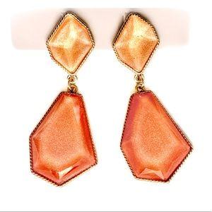 🆕 Gold Lt. Orange Tangerine Shimmer Earrings NWT